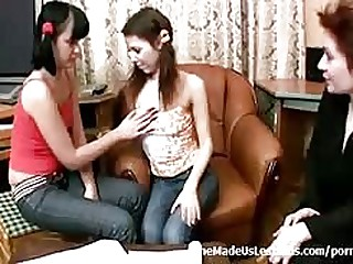 A mature instructor shows a couple of hot young 18 year old teenies how to properly have hot lesbians sex...