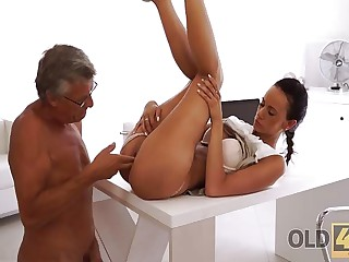 OLD4K. Tight young pussy of bewitching secretary Liliane