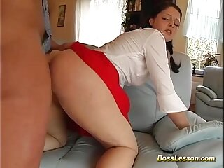 Boss shows her what a real fuck means
