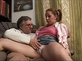 Young girl getting hammered by old man