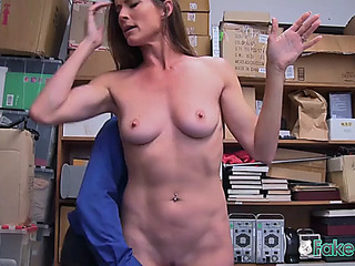 Excited officer makes sofie marie disrobe down and take his large penis