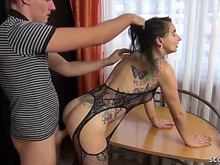German brother caught slim stepsister and assist with fuck