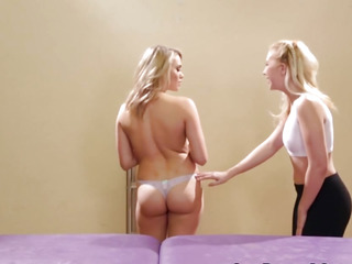 Blond legal age teenager licking cookie