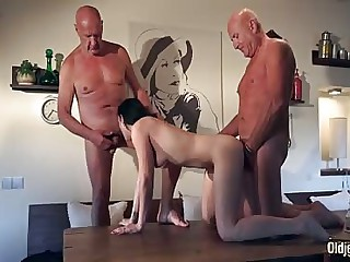 Threesome young babe fucked by older men in hardcore sex