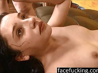 (new) 18 year old cutie Becky Sins gets her throat pounded at face fucking