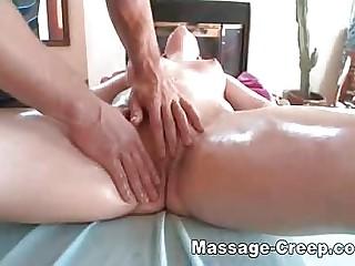 Brunette with big ass at massage