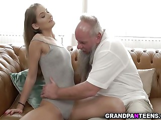 Young beauty Tiffany Tatum bangs with grandpa Albert