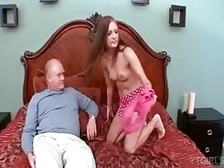 Young schoolgirl goes to private lessons from her old professor