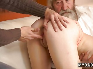 Old man and young lady fuck Unexpected practice with an