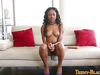 Ebony teen gets plowed and booty spermed