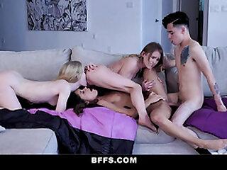 BFFS - Sexy Teen BFFs Fuck A Big Dick Stepbrother