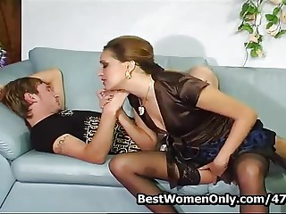 Aunt Helena And Young Lover Gets Sex Lessons In Couch