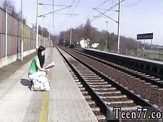 Fake agent teen creampie Masturbating at the train station
