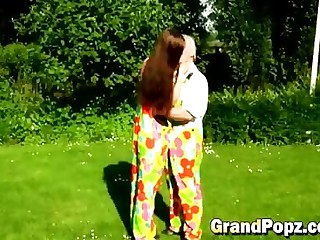 Teen seduced by old man into pounding outdoors
