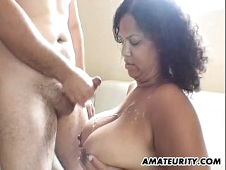 Black amateur girlfriend with big tits in action
