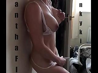 Standing big tits masturbation