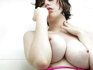 Incredibly Hot Brunette Ava´s Creamy Natural Big Tits in College Dorm Bath