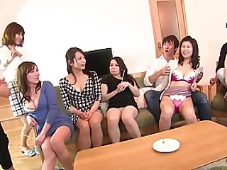 Japanese MILF truth or dare party turns raunchy as all have their pantyhose stripped to show their thong clad big butts followed by them giving handjobs to everyone in HD with subtitles