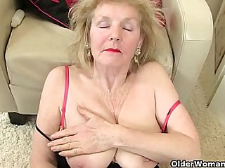 British granny Amanda Degas gives her sweet matured fanny a treat in the bathroom. Now available in Full HD 1080P. Bonus video: English gilf Pearl.