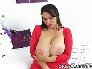 Big boobed milf Josephine James from the United Kingdom works her nylon clad fanny and G-spot with a curved dildo (brand NEW video available in Full HD 1080P). Bonus video: UK milf Shannon Blue.