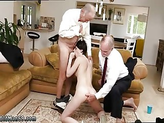 Old man massage by young  girl Frannkie heads down the